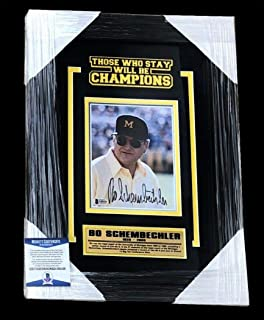 Bo Schembechler Signed Photo - Framed Matted 6x8 Beckett Coa - Beckett Authentication - Autographed College Photos