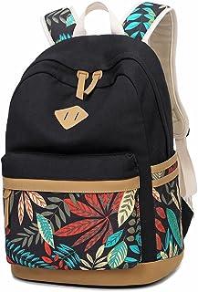 LuckyZ Women Backpack Lightweight Canvas Leather Daykpack School Bag Cute Printng Travel Shoulder Bookbags Leaf Black