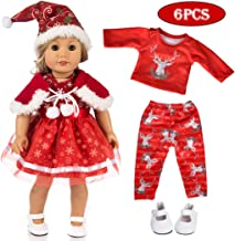 ebuddy 5pc Christmas Doll Clothes Sets with Doll Shoes for 18 inch Dolls Like American Girl, Journey Girl Dolls, Our Generation Dolls
