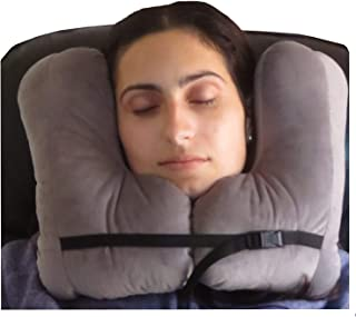 NEW!! SkySiesta SNUG Travel Pillow- Two L-Shaped Fiber Filled Head Supports Bag Eye Mask