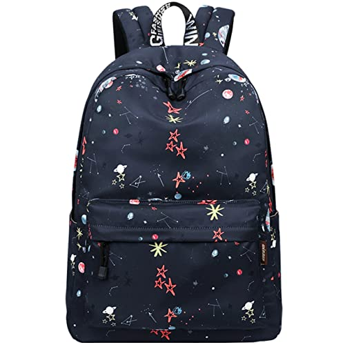 School Backpacks for Teen Girls Lightweight Shoulder School Bags Universal  Stars and Planet Patterned (Black a60bdaf70f945