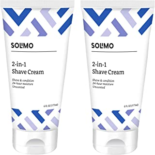 Amazon Brand - Solimo 2-In-1 Shave Cream, Fragrance Free, 6 Fl. Oz. (Pack Of 2)