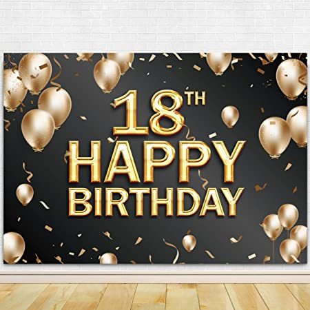 DORCEV 6x4ft Happy 18th Birthday Backdrop for Happy Eighteen Years Old Age Bithday Party Background Shing Glitter Gold Spots Blak and Gold Party Banner Wallpaper Adult Kids Photo Studio Props
