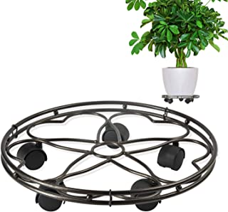 CERBIOR Plant Caddy Heavy Duty Metal Plant Stand with Rolling Wheels Indoor Outdoor 180 Lbs Strong and Sturdy Design 15Inches Bronze
