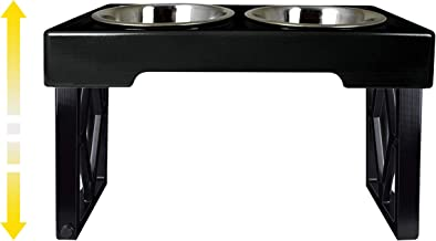 Pet Zone Designer Diner Adjustable Elevated Dog Bowls - Raised Dog Feeder with Double Stainless Steel Bowls – Adjusts to 2.75 inches, 8 inches and 12 inches