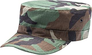 Unisex Fitted Army Military Cadet Hat Ripstop Camouflage Ballcap Flat Top Cap