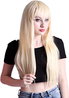 HDE Women's Long Straight Platinum Blonde Wig Hair Style for Cosplay Costumes
