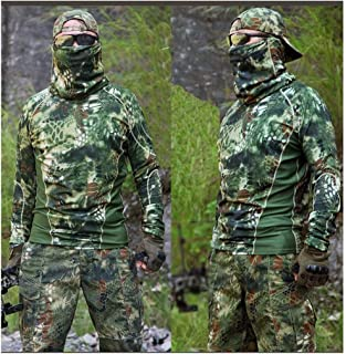 Image of LXYFMS Camouflage Suit Outdoor Fishing Hunting Bird Riding Spring and Summer Round Neck T-Shirt T-Shirt Slim Pants Trousers Quick-Drying Slim Sports Suit Camouflage Suit (Size : L)