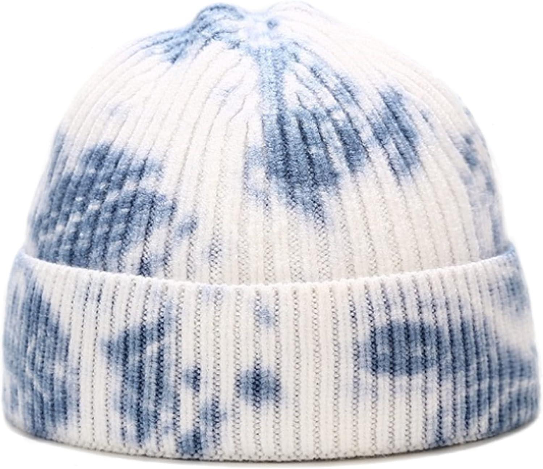 XYIYI Women Tie Dye Beanie Men Cuffed Winter Knit Hat Slouchy Skull Caps