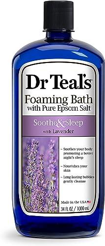 Dr Teal's Foaming Bath with Pure Epsom Salt, Soothe & Sleep with Lavender, 34 fl oz, Purple