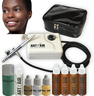 Art of Air DARK Complexion Professional Airbrush Cosmetic Makeup System / 4pc Foundation Set with Blush, Bronzer, Shimmer ...