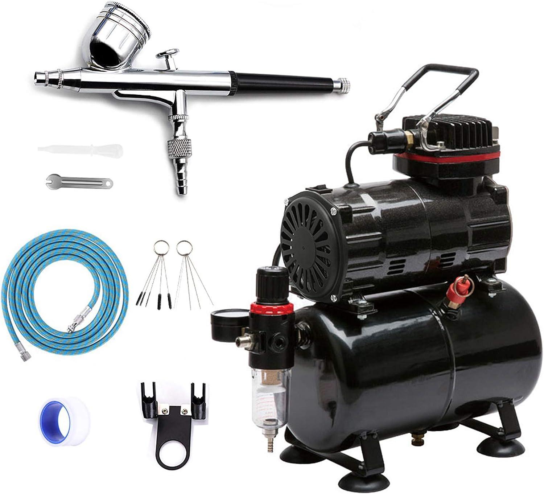 Awsuc Compresor aerógrafo silencioso profesional kit de aerógrafo doble acción kit con recipiente de aire (3 l/4 bar) para modelismo, pastelería, uñas, pintura, maquillaje, decoración para tartas