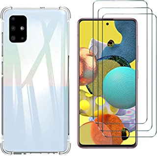 HYMY fodral + 3 x skärmskydd för SAMSUNG Galaxy A51 5G - Transparent Clear TPU Mjuk Silikon Protection Four-corner Reinfor...