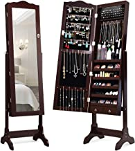 Giantex 14 LEDs Mirror Jewelry Cabinet with Lock and Key, Lockable Standing Jewelry Armoire with Full Length Mirror and 14 Auto-on LEDs, Storage Organizer with 2 Drawers, 4 Angles Adjustable (Brown)