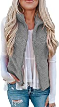 Womens Fuzzy Sherpa Fleece Jacket Lightweight Vest Cozy Sleeveless Cardigan Zipper Waistcoat Outerwear with Pocket