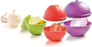 Mastrad - Boites de Conservation - Lot de 4 Formes: Ail, Oignon, Citron Tomate - Emboîtables - Lave Vaisselle