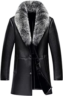 K3K Winter Mens High Faux Fur Leather Fashion Removable Fox Fur Collar Long Coat Wool Lining Thick Jackets