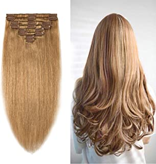 10-24inch Clip in Remy Human Hair Extensions Grade 7A Thick to End Full Head Natural Hair Long Straight 8 Pieces 18clips 70g 10