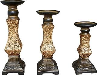 G-mart Set of 3 Resin Pillar Candle Holders -12