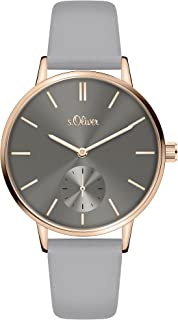 s.Oliver Time Damen Analog Quarz Uhr mit PU Armband SO-3586-LQ…