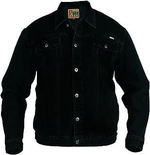 DUKE D555 Mens Denim Jean Jacket Classic Western Style Trucker Jacket-Black-King - 8XL