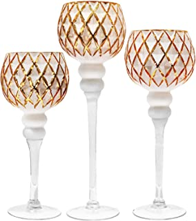Galashield Candle Holders Set of 3 Glass Hurricane Votive Tealight and Floating Candle Stand Centerpieces for Wedding Table Gold/White (16