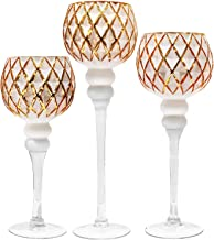 Galashield Votive Glass Candle Holders Set of 3 Tealight Hurricane Candle Stand Centerpieces for Wedding Table Gold