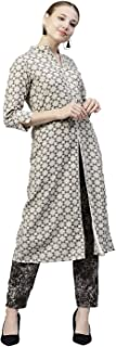 Jaipur Kurti Women's Geometric Print A-Line Cotton Kurta with Pant