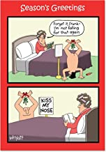 Kiss Nose Mistletoe - Naughty, Funny Christmas Greeting Card with Envelope (4.63 x 6.75 Inch) - Adult Humor Happy Holidays Note Card for Wife, Women - Sexy, Romantic Xmas Stationery for Adults 5715