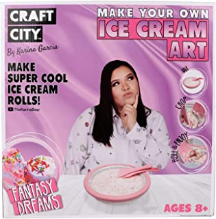 Craft City Karina Garcia Make Your Own Instant Ice Cream Rolls Art Kit | DIY | at-Home | Ice Cream Roll Maker for Edible Art | Ice Cream Roll Pan and Accessories | Make it Your Own | 10 Piece Set