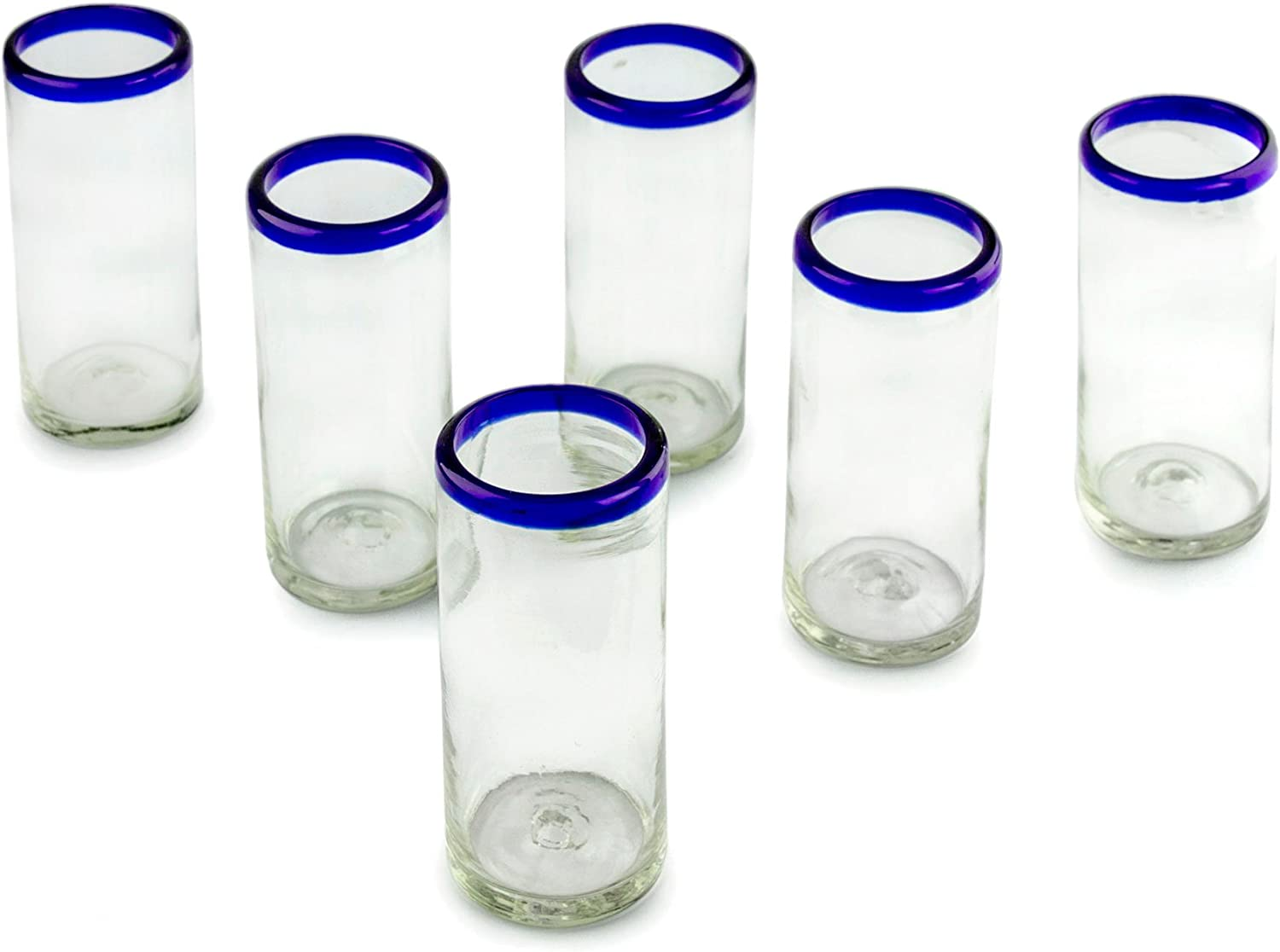 NOVICA Hand Blown Clear Blue Recycled Glass Tall Juice Glasses, 11 Oz 'Cobalt Classics'(Set Of 6)