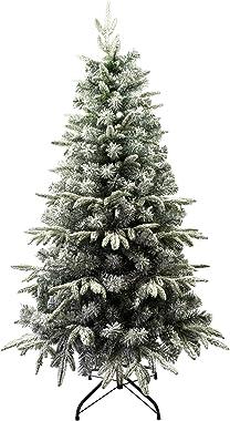 Solagua Árbol de Navidad Automontable Flocado con Copos de Nieve Abeto Nevado 120-210cm C/Soporte Metálico (180cm 878Tips, Fl