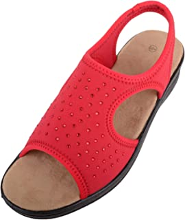 Absolute Footwear Womens Light Weight Slip On Lycra Wide Fitting Stretchy Sandals/Shoes