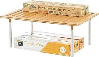 mDesign organiseur de cuisine – petit rangement pour étagère de cuisine en bambou et métal – accessoire de rangement esthé...