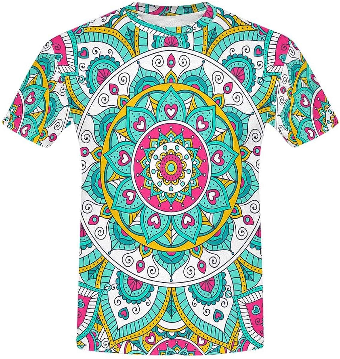 INTERESTPRINT Tribal Mandala Classic 2021 spring 2021 spring and summer new and summer new Print Over All Short-Sleeve