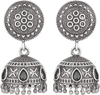 Aheli Vintage Old Fashioned Oxidized Dangler Jhumka Jhumki Encrusted with Black Faux Kundan Stone Earrings for Women