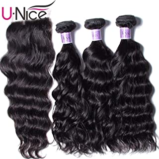 UNice Hair Kysiss Series Brazilian Natural Wave 3 Bundles Weave with 4X4 Free Part Lace Closure 100% Unprocessed Virgin Human Hair Extensions Natural Color (14 16 18 & Closure 12)