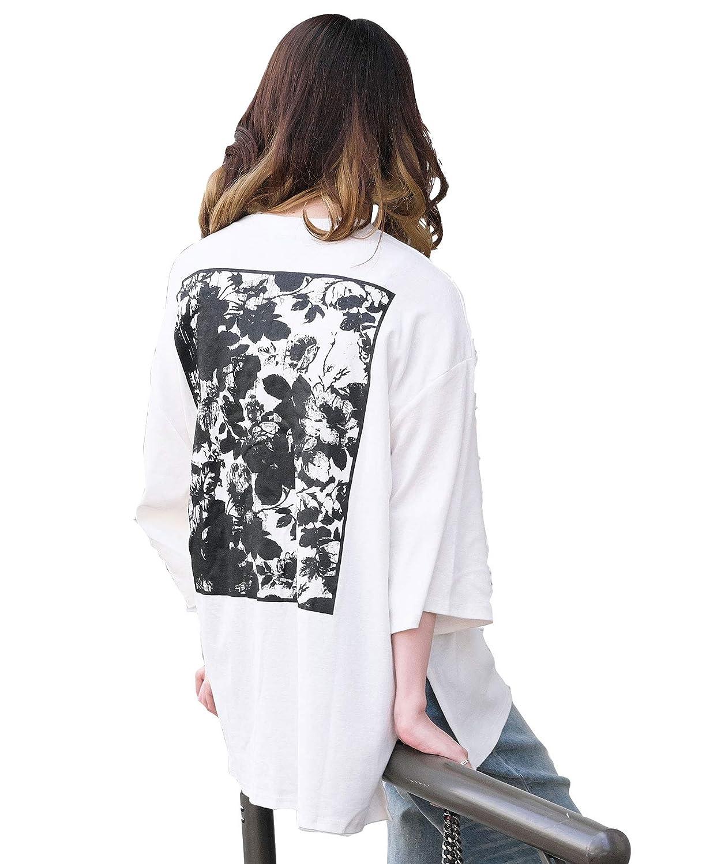 [アンドジェイ] バックプリント スリット ビッグシルエット Tシャツ (4297)