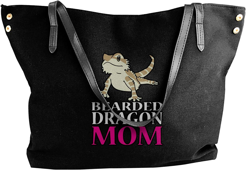 BEARDED DRAGON MOM Women'S Leisure Canvas Handbag For Work Shoulder Tote