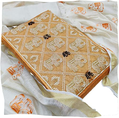 Women Chanderi Cotton Un Stitched Salwar Kameez Dress Material YELLOW
