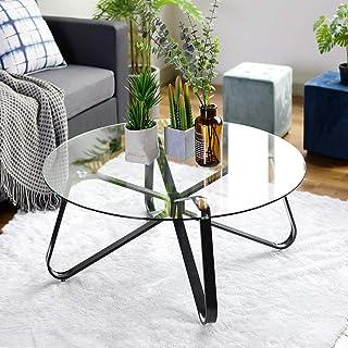 Okrągły stolik kawowy z hartowanego szkła, nordycki minim