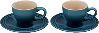 Le Creuset of America PG8001-096M Le Creuset Stoneware Set of 2 Espresso Cups and Saucers-Marine, 2 oz