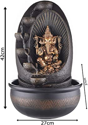 eCraftIndia Oval Textured Lord Ganesha Polystone Water Fountain (27 cm X 27 cm X 42 cm, Brown) & Lord Ganesha Playing Dholak Wrought Iron Wall Hanging (23 cm X 5 cm X 45, Orange and Black) Combo