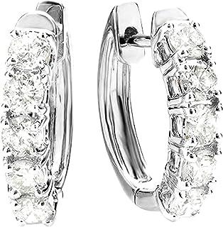 1-5 Carat Five Stone Diamond Hoop Huggie Earrings 14K Gold Premium Collection