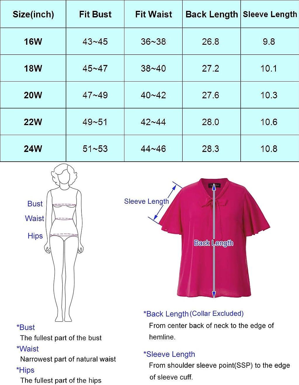 Hanna Nikole Women Plus Size Chiffon Long Sleeve Bow Tie Blouse Top Shirts