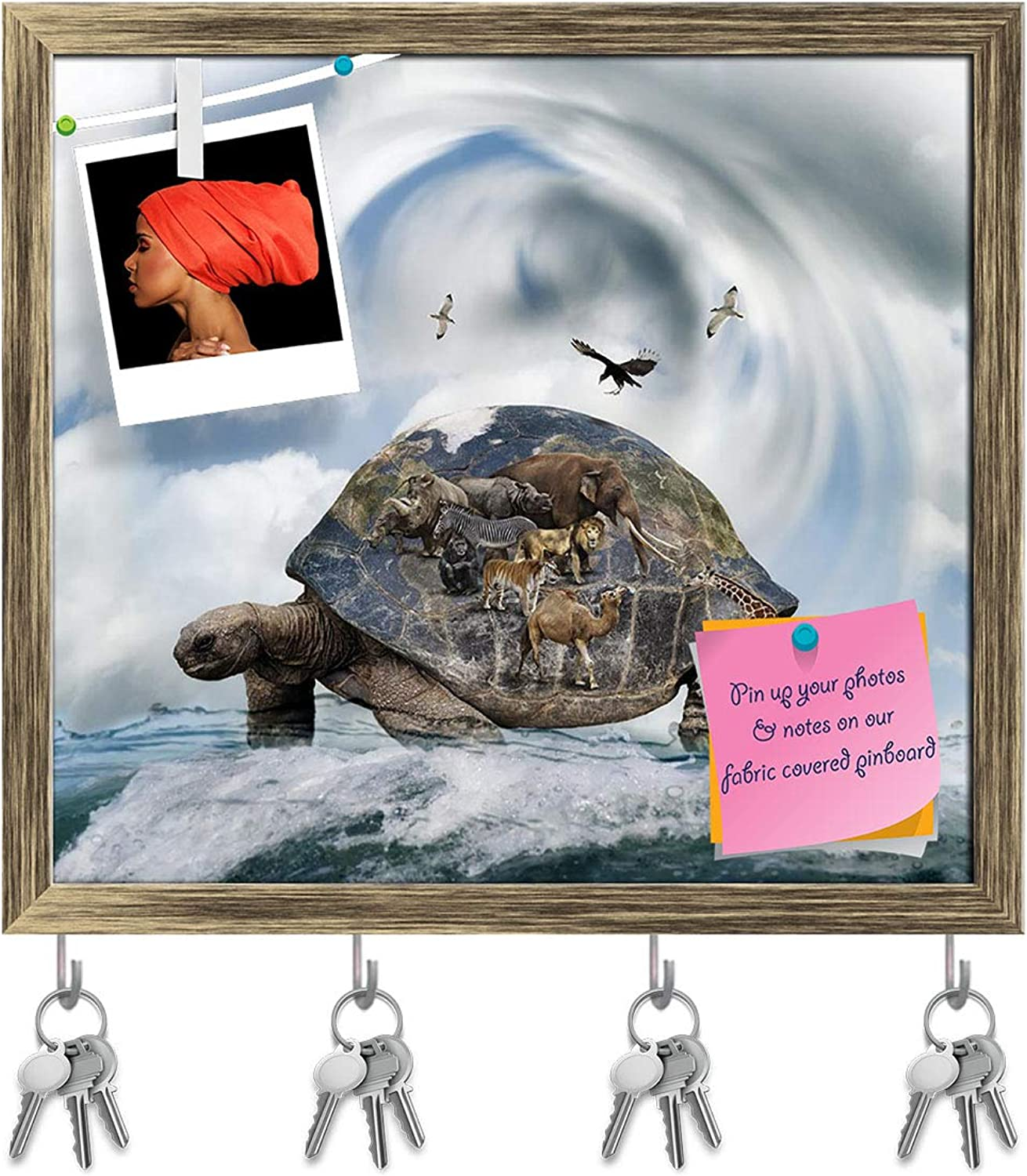 Artzfolio World Turtle Concept Carrying Animals Key Holder Hooks   Notice Pin Board   Antique golden Frame 17.6 X 16Inch