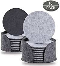ZHRUNS Absorbent Felt Drink Coaster Set with Storage Caddy, 16 Pack 4 inch Heat-Resistant and Reuse Coaster, Ideal for Protect Your Furniture, Perfect for Cold Drinks Wine Glasses Plants Cups & Mugs
