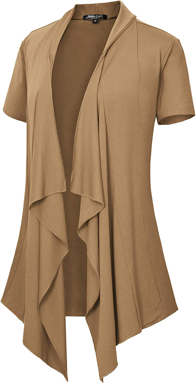Women's Short Sleeve Draped Open Front Cardigan Lightweight Summer Vest for Women