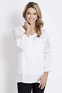 Rockmans 3/4 Sleeve Lurex Embroidered Blouse White 20 - Womens