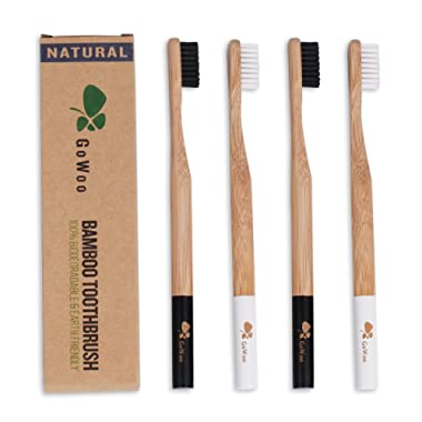 GoWoo 100% Natural Bamboo Toothbrush Soft - Organic Eco Friendly Toothbrushes With Soft Nylon Bristles, BPA-Free, Biodegradable, Dental Care Set for Men and Women, Pack Of 4
